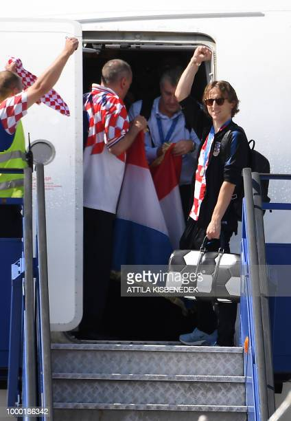 Best player of the FIFA World Cup 2018 in Russia, Croatian Luka Modric, steps out from their Airbus 319 airplane in Zagreb International Airport on...