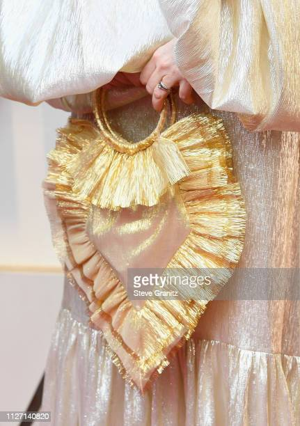 Best Production Design nominee Fiona Crombie purse deteail attends the 91st Annual Academy Awards at Hollywood and Highland on February 24 2019 in...