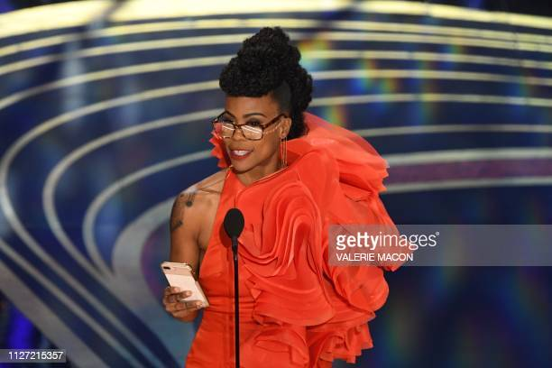 Best Production Design nominee for Black Panther Hannah Beachler accepts the award for Best Production Design during the 91st Annual Academy Awards...