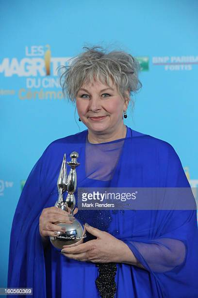 Best second female actress Yolande Moreau attends les Magritte du Cinema at the Square on February 2 2013 in Brussels Belgium