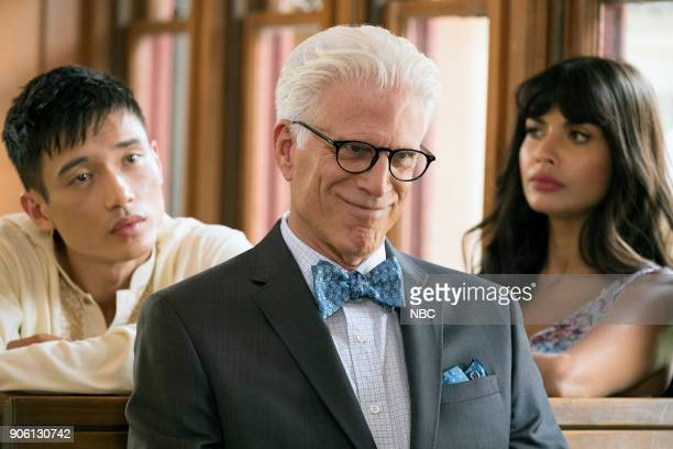 PLACE 'Best Self' Episode 210 Pictured Manny Jacinto as Jianyu Ted Danson as Michael Jameela Jamil as Tehani