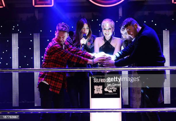 Best selling artist Jessie J switches on the Oxford Street Christmas lights at Selfridges with James Arthur and Conor Maynard to crowd 10000 on...