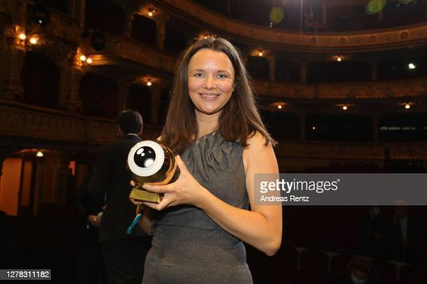 """Best Series Award"""" Winner for """"Cry Wolf"""" Maja Jul Larsen poses on stage the Award Night Ceremony of the 16th Zurich Film Festival at Opera House on..."""