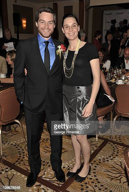 Best Short Film Filmmaker Patrick Doyon and Ariane Pellicer attend the 2012 Luncheon Honoring Canadian Nominees For The Academy Awards at the Beverly...