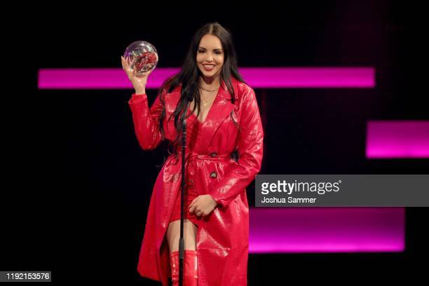 'Best Single' and 'Best Female Artist' award winner Juju seen on stage at the 1Live Krone radio award at Jahrhunderthalle on December 05 2019 in...