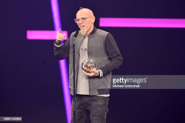 'Best Single' award winner Thomas D of Die Fanstatischen Vier speaks on stage at the 1Live Krone radio award at Jahrhunderthalle on December 6 2018...