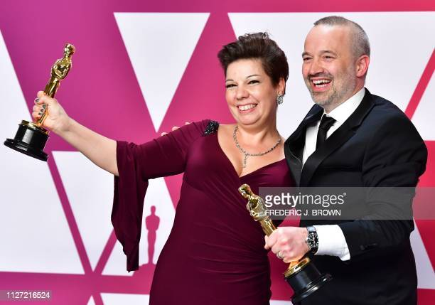 Best Sound Editing winner for Bohemian Rhapsody John Warhurst and Nina Hartstone pose in the press room with the Oscar during the 91st Annual Academy...