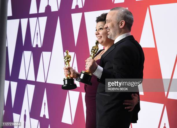 Best Sound Editing winners for Bohemian Rhapsody John Warhurst and Nina Hartstone pose in the press room with their Oscar during the 91st Annual...