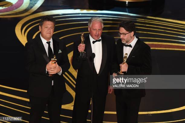 Best Sound Mixing nominees for Bohemian Rhapsody Paul Massey Tim Cavagin and John Casali accepts the award for Best Sound Mixing during the 91st...