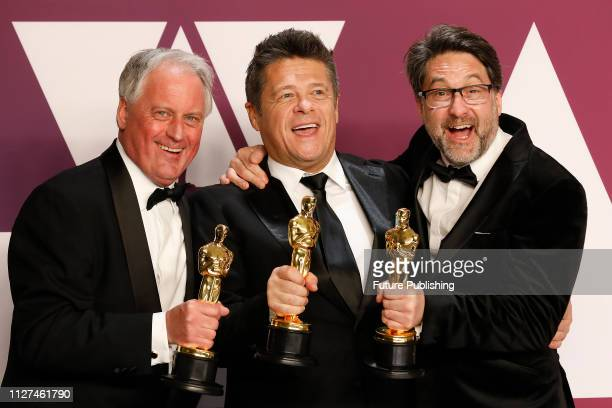Best Sound Mixing winner for 'Bohemian Rhapsody' Paul Massey Tim Cavagin and John Casali pose in the press room at the 91st Annual Academy Awards at...