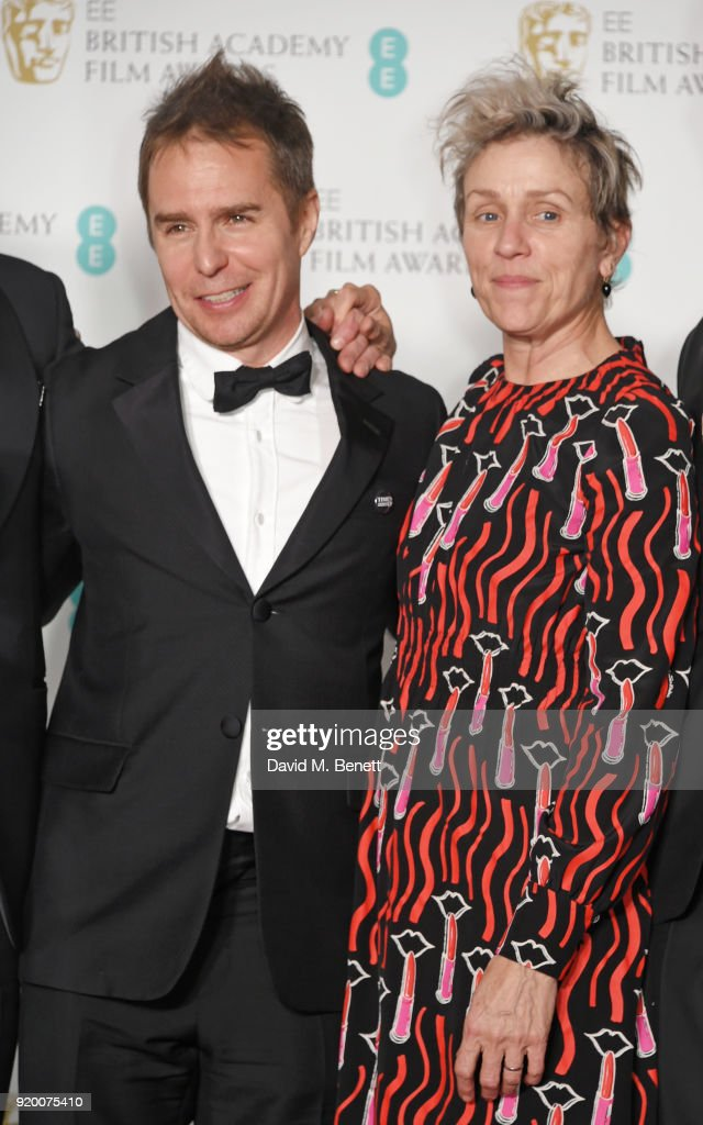 Best Supportin Actor winner Sam Rockwell (L) and Best Actress winner Frances McDormand poses in the press room during the EE British Academy Film Awards (BAFTA) held at Royal Albert Hall on February 18, 2018 in London, England.