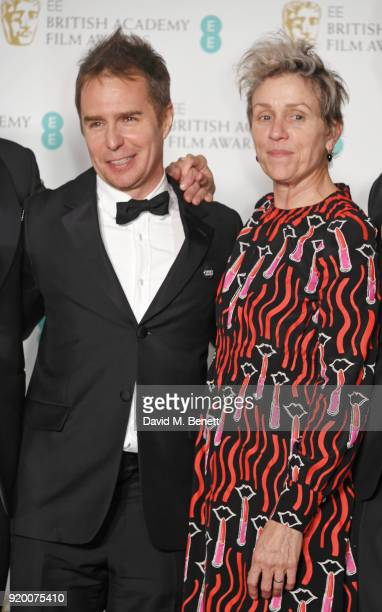 Best Supportin Actor winner Sam Rockwell and Best Actress winner Frances McDormand poses in the press room during the EE British Academy Film Awards...