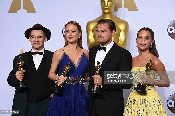 Best Supporting Actor Mark Rylance Best Actress Brie Larson Best Actor Leonardo DiCaprio and Best Supporting Actress Alicia Vikander pose with their...