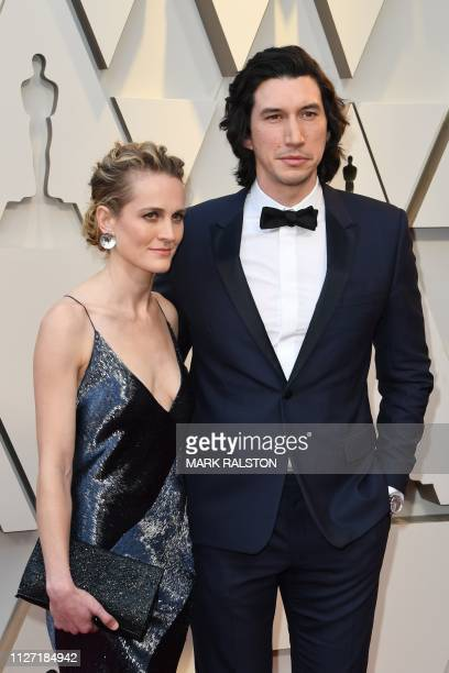 Best Supporting Actor nominee for BlackKklansman Adam Driver and his wife actress Joanne Tucker arrive for the 91st Annual Academy Awards at the...