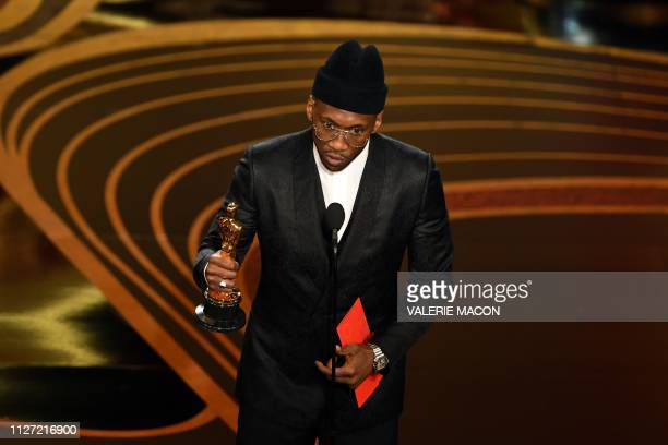 Best Supporting Actor nominee for Green Book Mahershala Ali accepts the award for Best Supporting Actor during the 91st Annual Academy Awards at the...