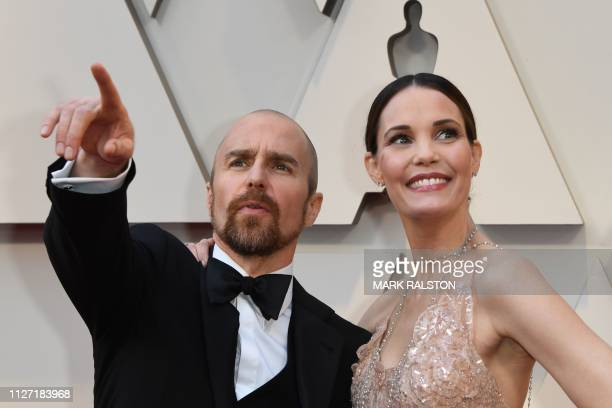 Best Supporting Actor nominee for Vice Sam Rockwell and actress Leslie Bibb arrive for the 91st Annual Academy Awards at the Dolby Theatre in...