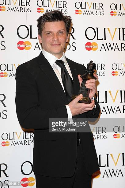 Best Supporting Actor winner Nigel Harman poses in the press room during the 2012 Olivier Awards at The Royal Opera House on April 15 2012 in London...