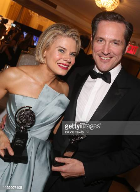 Best Supporting Actress in a Play Celia KeenanBolger and Best Supporting Actor in a Play Bertie Carvel pose in the press room for The 2019 Annual...
