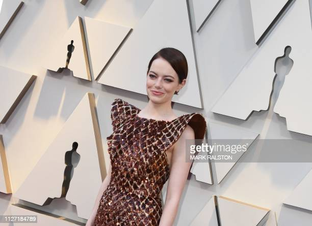 Best Supporting Actress nominee for The Favourite Emma Stone arrives for the 91st Annual Academy Awards at the Dolby Theatre in Hollywood California...