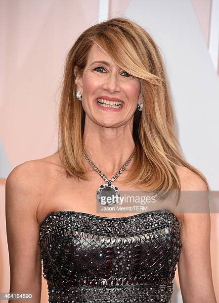 Best Supporting Actress nominee Laura Dern at the Oscars Red Carpet wearing turquoise jewelry in support of American Lung Association's LUNG FORCE an...