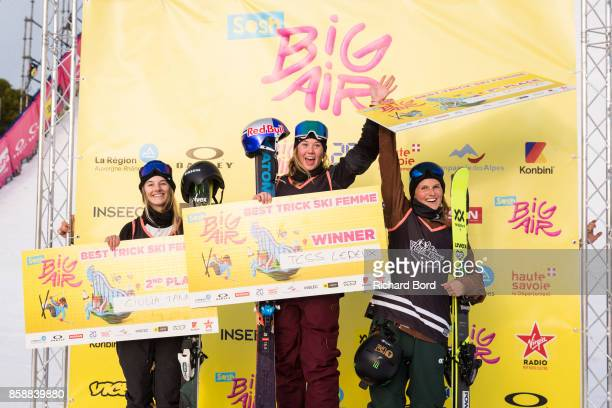 Best Trick Ski Women 2nd place Giulia Tanno 1st place Tess Ledeux and 3rd place Coline Ballet Baz pose on the podium during the Sosh Big Air finals...
