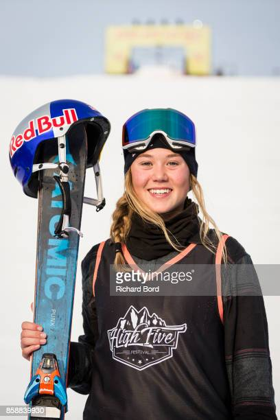Best Trick Ski Women winner Tess Ledeux of France poses on the podium during the Sosh Big Air finals on October 7 2017 in Annecy France