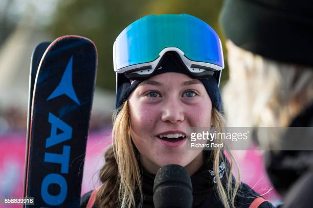 Best Trick Ski Women winner Tess Ledeux of France speaks to the media during the Sosh Big Air finals on October 7 2017 in Annecy France