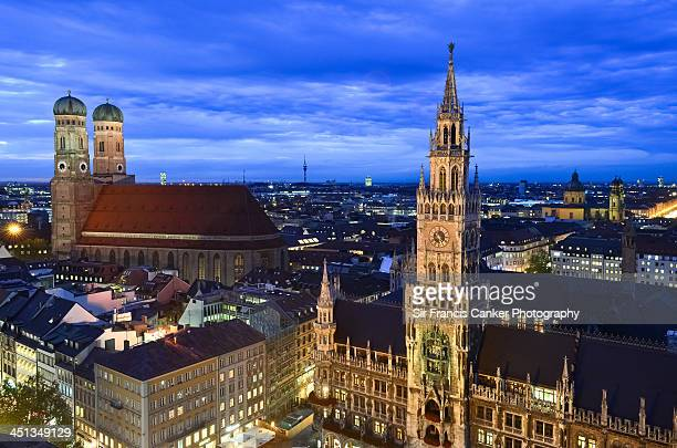 Best view of Munich illuminated at dusk