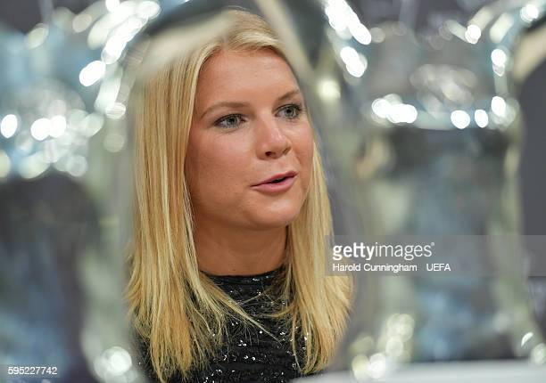Best Women's Player in Europe Award winner Ada Hegerberg during a press conference during the ECF Season Kick Off 2016/17 on August 25 2016 in Monaco...