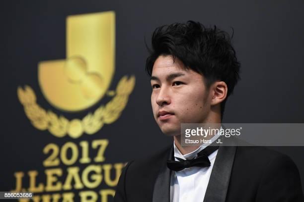 Best Young Player Award winner Yuta Nakayama of Kashiwa Reysol attends a press conference after the 2017 JLeague Awards at Yokohama Arena on December...
