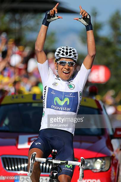 Best young rider Nairo Quintana of Colombia and Movistar Team celebrates winning stage twenty of the 2013 Tour de France a 125KM road stage from...