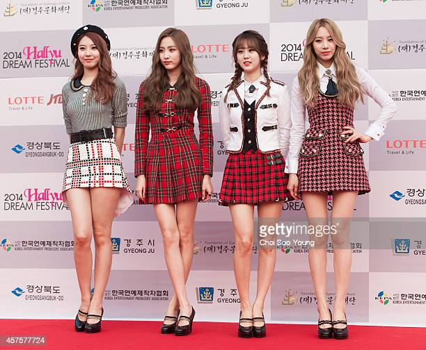 BESTie pose for photographs during the 2014 Hallyu Dream Concert at Gyeongju Citizen Stadium on September 28 2014 in Seoul South Korea