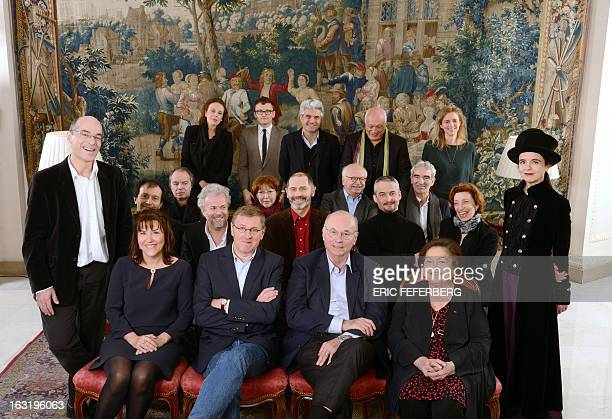 Bestsellers writers pose for a family picture during the presentation of France's 2012 bestselling authors of L'Express RTL yearly palmares on...