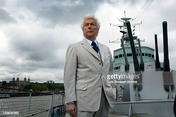 Bestselling author Ken Follett photographed on board HMS Belfast moored near Tower Bridge on the River Thames London Mr Follett's thrillers and...