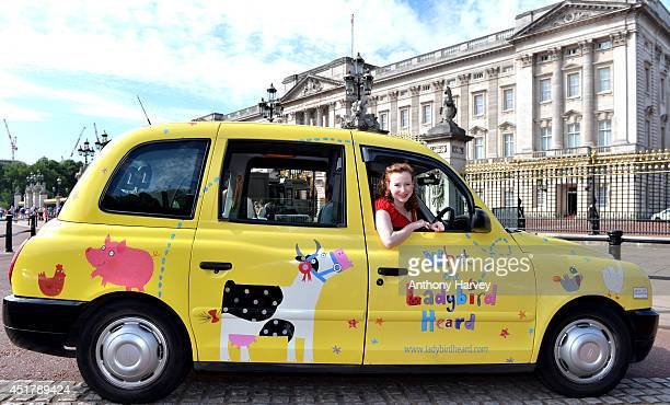 Bestselling illustrator Lydia Monks in a unique WHAT THE LADYBIRD HEARD taxi on July 4 2014 in London England