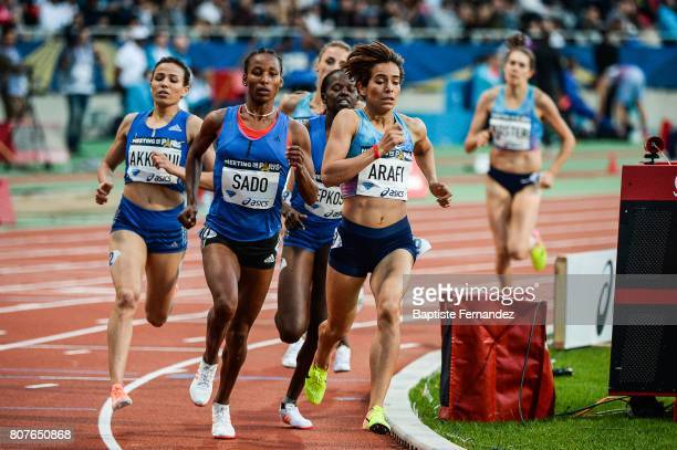 Besu Sado and Rababe Arafi during the Meeting de Paris of the IAAF Diamond League 2017 at Stade Charlety on July 1 2017 in Paris France
