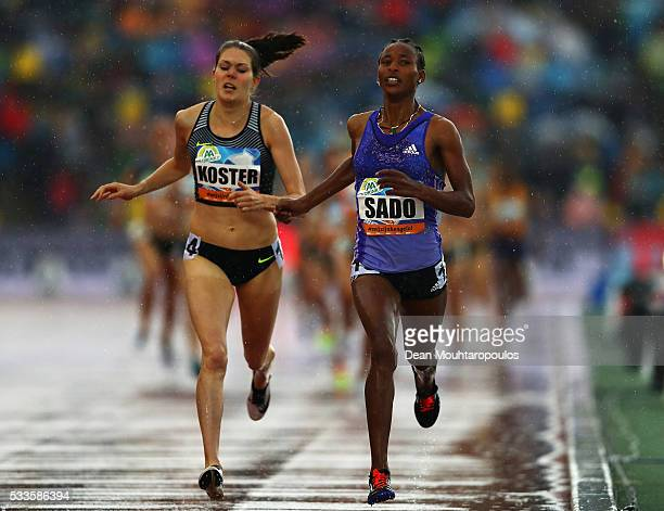 Besu Sado of Ethiopia competes and wins the Womens 1500m in front of Maureen Koster of the Netherlands during the AA Drink FBK Games held at the FBK...