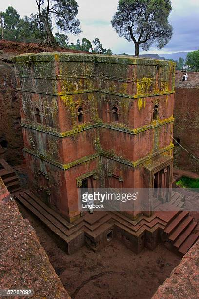 bet giorgis, lalibela ethiopia. st george rock hewn church - lalibela stock photos and pictures