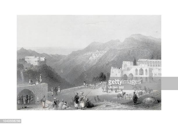 Beteddein Palace of the prince of the Druses DerElKamar in the distance Engraved by HAdlard after a picture by WHBartlett published in Syria The Holy...
