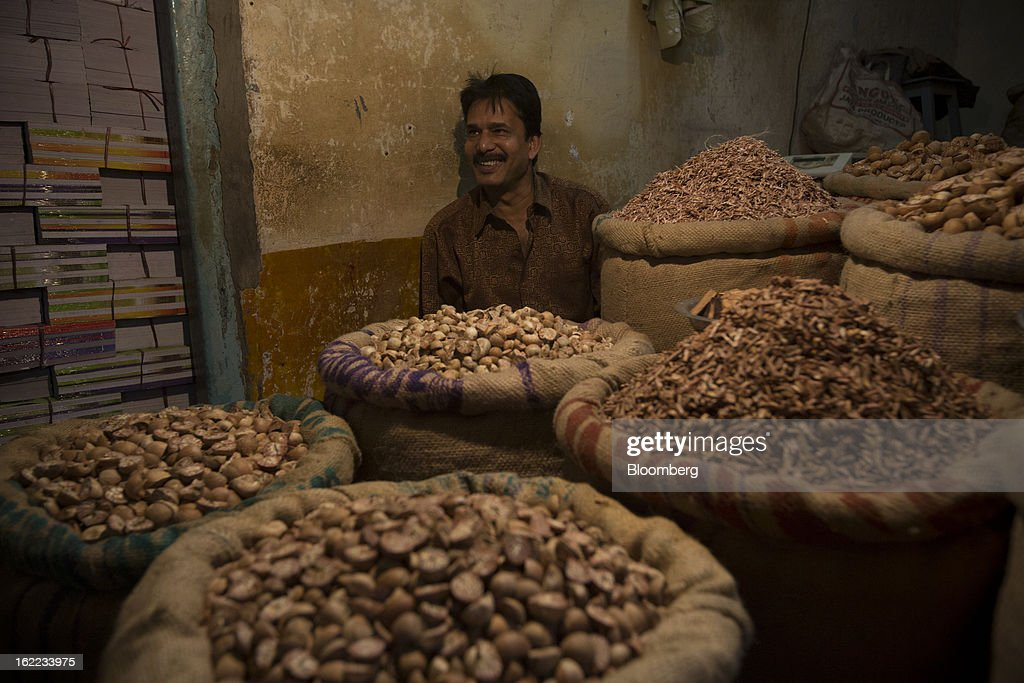 Betel nuts are displayed for sale in the Burrabazar area of Kolkata, India, on Tuesday, Feb. 19, 2013. India's slowest economic expansion in a decade is limiting profit growth at the biggest companies even as foreigners remain net buyers of the nation's stocks, according to Kotak Institutional Equities. Photographer: Brent Lewin/Bloomberg via Getty Images
