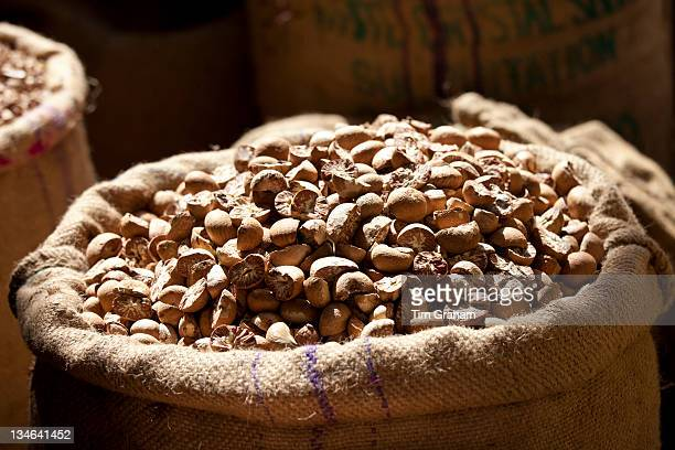 Betel nuts on sale at Khari Baoli spice and dried foods market Old Delhi India