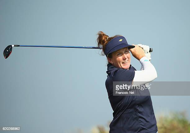 Beth Allen of USA tees off on the 18th hole during the first round of the Fatima Bint Mubarak Ladies Open at Saadiyat Beach Golf Club on November 2...