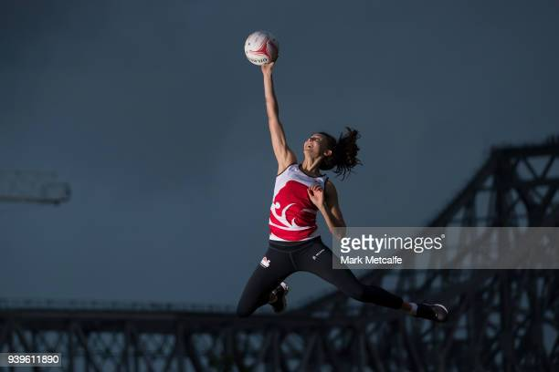 Beth Cobden poses during a Team England media opportunity ahead of the 2018 Gold Coast Commonwealth Games at All Hallows School on March 29 2018 in...