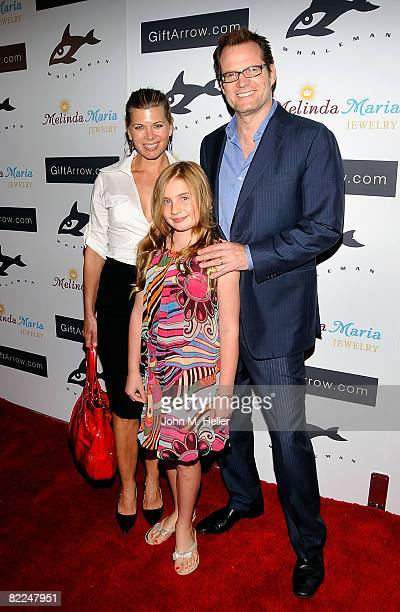 Beth Coleman Jack Coleman and Tess Coleman arrive at the Whaleman Foundation Benefit Dinner hosted by Hayden Panettiere on August 10 2008 at Beso in...