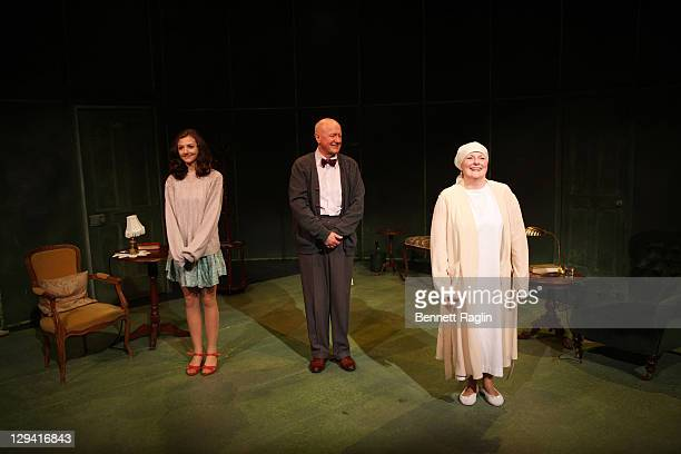 Beth Cooke Niall Buggy and Brenda Blethyn take curtain call during the opening night of Haunted at 59E59 Theaters on December 8 2010 in New York City