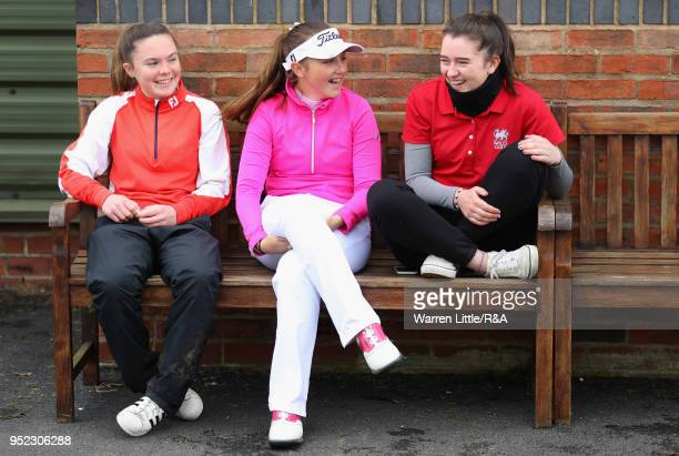 Beth Coulter Ffion Tynan and Carys Worby chat after their second round of the Girls' U16 Open Championship at Fulford Golf Club on April 28 2018 in...