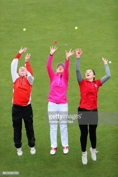 Beth Coulter Ffion Tynan and Carys Worby pose for picture after their second round of the Girls' U16 Open Championship at Fulford Golf Club on April...