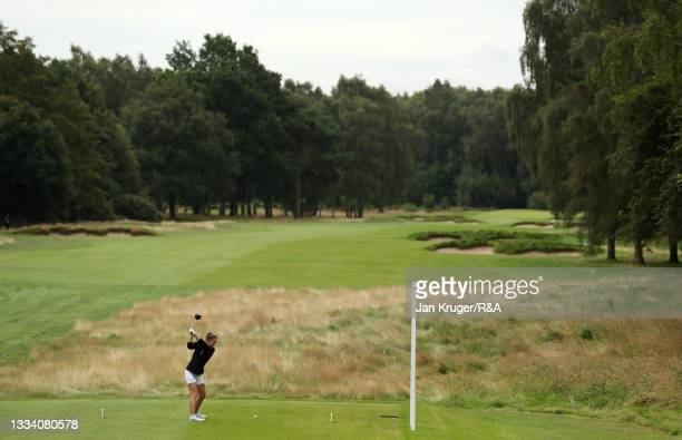 Beth Coulter of Kirkistown Castle in action during the Final of the R&A Girls Amateur Championship at Fulford Golf Club on August 14, 2021 in York,...