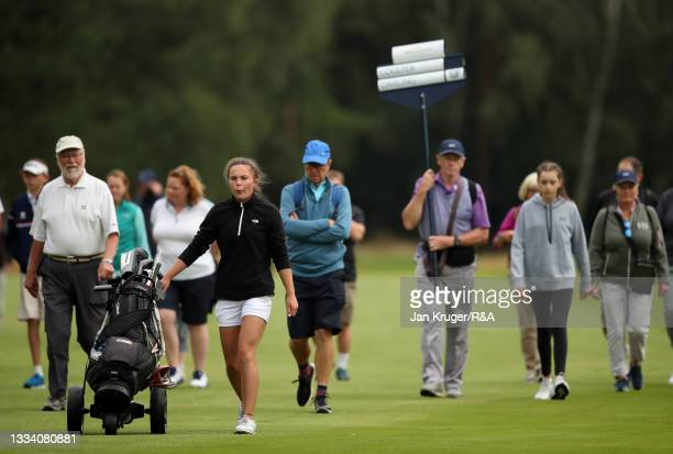 Beth Coulter of Kirkistown Castle makes her way down the fairway during the Final of the R&A Girls Amateur Championship at Fulford Golf Club on...