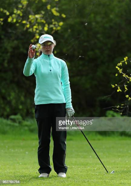 Beth Coulter takes a drop on the 18th hole during the final round of the Girls' U16 Open Championship at Fulford Golf Club on April 29 2018 in York...